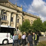Videobustour stopping at the impressive building of the German Federal Administrative Court in Leipzig